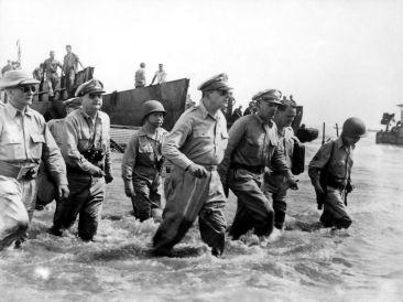 MacArthur lands at Leyte (WW-II).