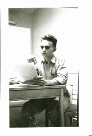 Grandfather dispatching news for Armed Forces Radio [WVTK] on Leyte (WW-II).